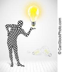 corps, entiers, lumière, incandescent, ampoule, homme