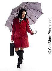 corps, entiers, parapluie, tenue, pose, femme, fond,...