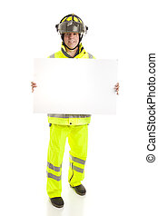 corps, entiers, pompier, -, signe, tenue