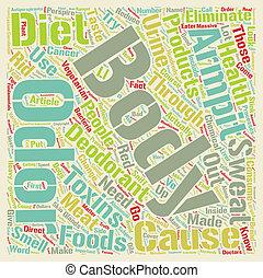 corps est, concept, texte, odeur, régime, wordcloud, par, boîte, fond, eliminated, changement
