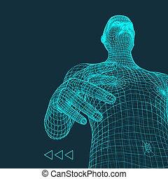 corps est, utilisé, body., boîte, scanning., couverture, ...