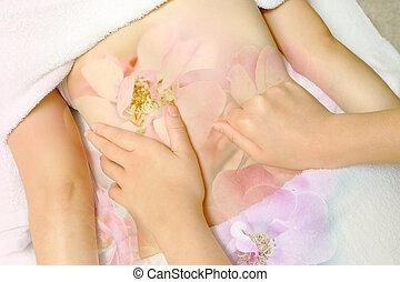 corps, femme, avoir, salon beauté, spa, masage