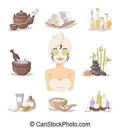 corps, femme, beauté, icônes, masque, vecteur, spa, soin