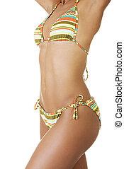 corps, femme, bronzé, bikini.