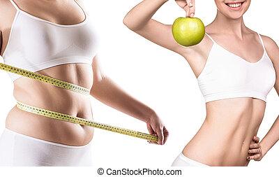 corps, femme, loss., poids, après, avant