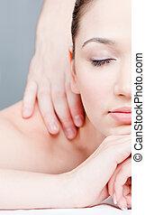 corps, femme, obtient, masage