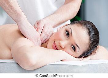 corps, femme, réception, masage