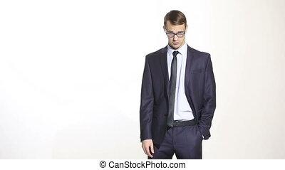 corps, formation, managers., regard, business, arrière-plan., attitude., sur, complet, aggressor, ventes, glasses., language., jugement, sien, critique, isolé, blanc, homme, agents.