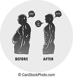 corps, forme, après, homme, avant