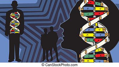 corps, génétique, tracer, humain, lien