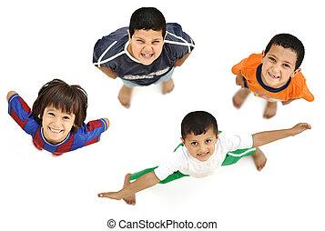 corps, garçon, peu, entiers, positif, différent, isolé, enfant, au-dessus, blanc, frais, sourire, angle, heureux