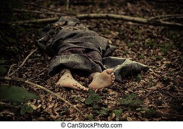 corps, garçon, pieds nue, forêt, mort