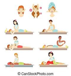 corps, gens, obtenir, facial, spa, masage
