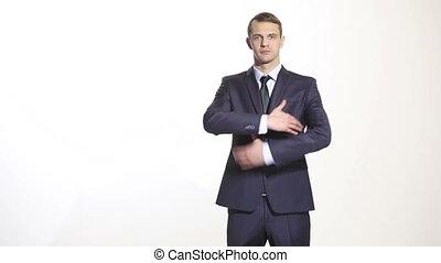 corps, gestes, business, language., isolé, thumbs., arrière-plan., emphase, armes traversés, homme, complet, blanc, attitude, hands., superiority.