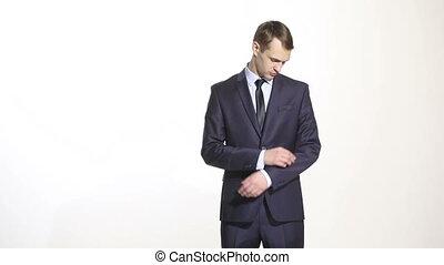 corps, gestes, hands., déguisé, business, language., isolé, arms., arrière-plan., bras, complet, croisement, opinion, blanc, répression, geste, homme