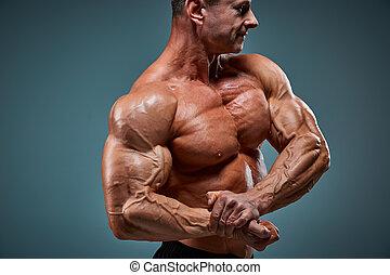 corps, gris, constructeur, arrière-plan., séduisant, mâle, ...