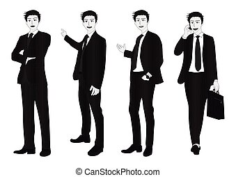 corps, gris, entiers, homme affaires