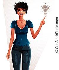 corps, haircut., entiers, elle, pointage, élégant, lumière, concept., cadre, idée, jeune, finger., femme, portrait., séduisant, femme, ampoule, nouveau, dame, enthousiaste, côté