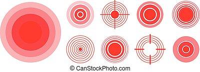 corps, headache., ensemble, douleur, cible, parties, cou, anneaux, illustration, marque, monde médical, femme, vecteur, douloureux, radial, problème, muscle, os, rouges, homme