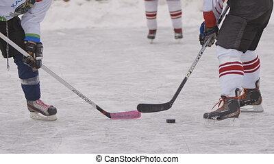 corps, hiver, jeu, sport., parties, hockey