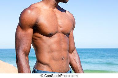 corps, homme, copie, musculaire, espace