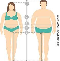 corps, homme, entiers, measurements., parameters, proportions., vêtements, lignes, mesures, excès poids, illustration, longueur, plus, humain, mesure, femmes, taille