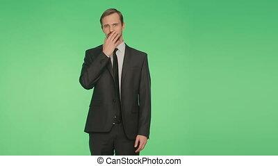 corps, isolé, language., gestes, arrière-plan., méfiance, lies., complet, vert, homme