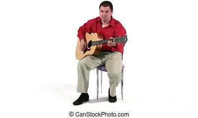 corps, jeu, guitar., entiers