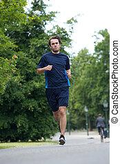corps, jeune homme, entiers, jogging