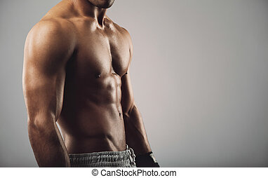 corps, jeune, musculaire, homme