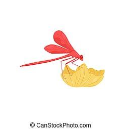 corps, libellule, paires, flower., séance, fast-flying, plat, deux, insecte, vecteur, long, petit, wings., rouges, icône