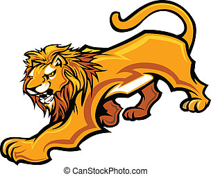 corps, lion, graphique, vecteur, mascotte
