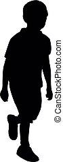 corps, marche, vecteur, silhouette, enfant