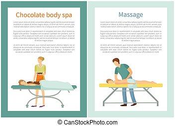 corps, masseur, chocolat, spa, procédures, masage