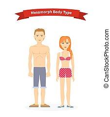 corps, mesomorph, femme, type, homme