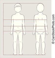corps, mesures, enfant