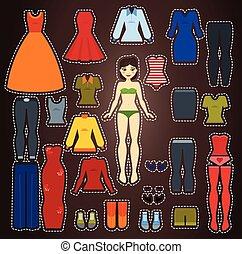 corps, mignon, poupée, haut, papier, gabarit, robe