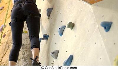 corps, mur, sportive, mince, rochers, gym., escalade