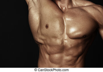 corps, musculaire, homme
