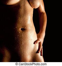 corps, nue, femme, jeune, mouillé
