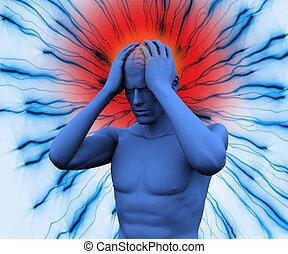 corps, numérique, avoir, mal tête