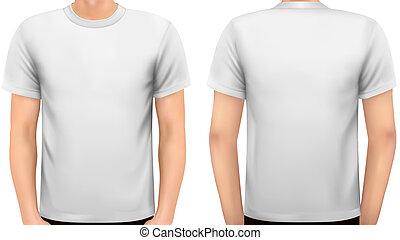 corps, on., chemise, vector., blanc mâle