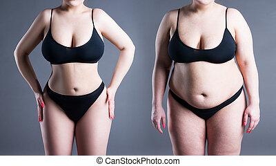 corps, perte, femme, poids, après, avant