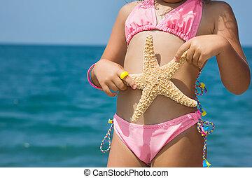 corps, peu, plage, girl, etoile mer