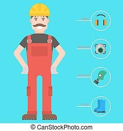 corps, plat, industriel, engrenage, ouvrier, usine, illustration, équipement, protection, vecteur, homme, sécurité, clothing., outils, ingénieur