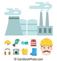 corps, plat, industriel, engrenage, ouvrier, usine, illustration, équipement, protection, vecteur, sécurité, clothing., outils, ingénieur