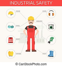 corps, plat, industriel, ensemble, engrenage, infographic., ouvrier, kit, équipement, sûreté protection, outils, éléments, illustration.