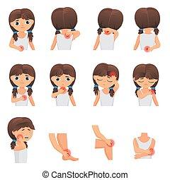 corps, plat, peu, douleur, maladies, douleur, set., différent, infographic, parties, sent, vecteur, enfant, girl, gosse, illustration.