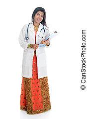 corps plein, indien, femme, docteur médical, portrait