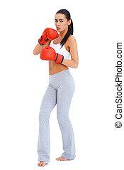 corps, porter, femme, coup, boxe, entiers, gants